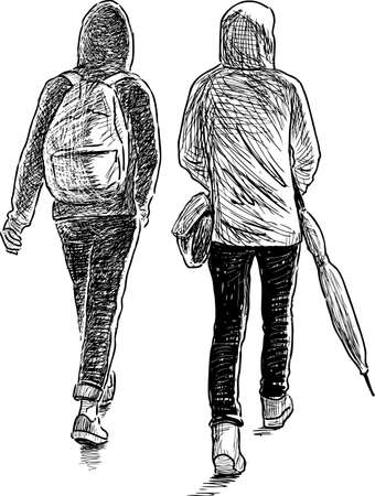 striding: Sketch of the teenagers students on a walk