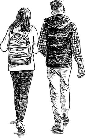 passerby: Young couple on a walk