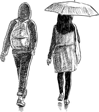The young townspeople walk in the rain