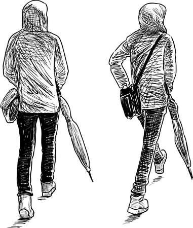 Sketch of a towns pedestrian with an umbrella
