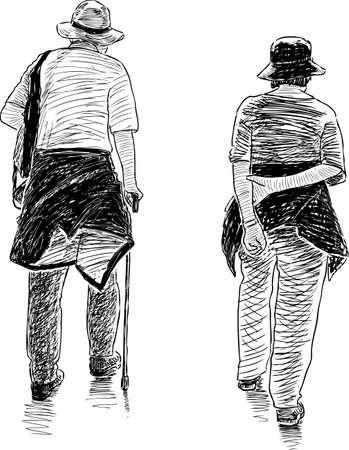 The elderly spouses go on a stroll