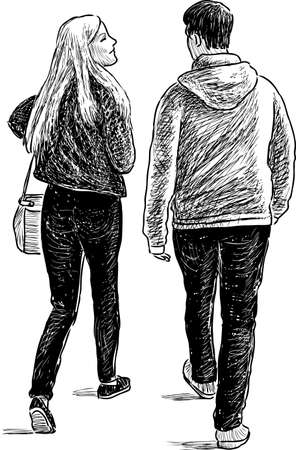 striding: The young people on a date