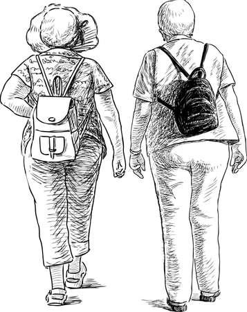 The elderly towns women go on a walk