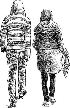 passerby: A guy and a girl go on a walk Illustration