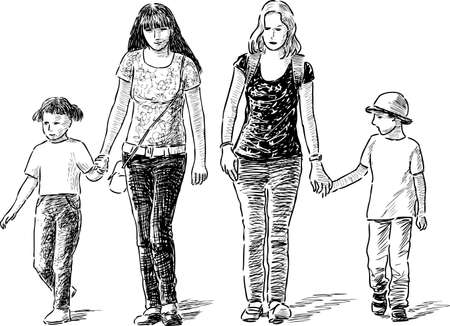 striding: The young mothers with their kids on a stroll.