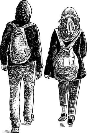 The students couple on a walk.