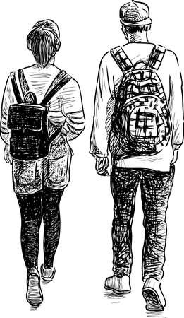 The teens couple go on a stroll