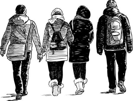 The young people go on a walk Illustration