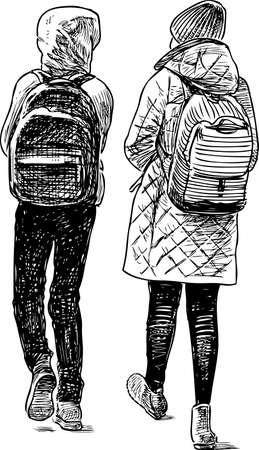 The school children go away from a school