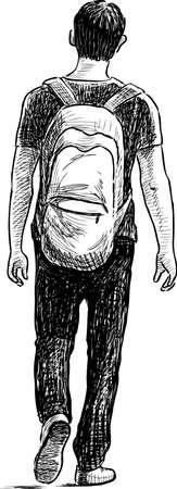 Een jonge man loopt weg