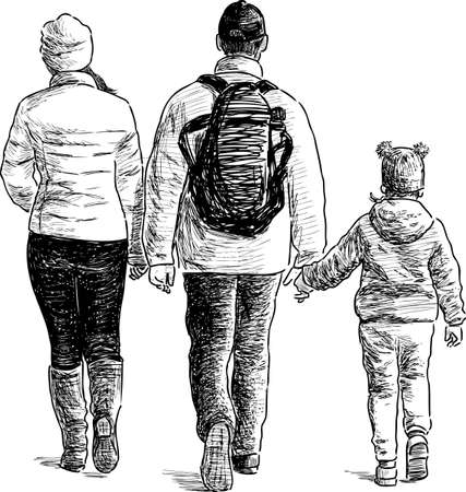 A young family on awalk Illustration