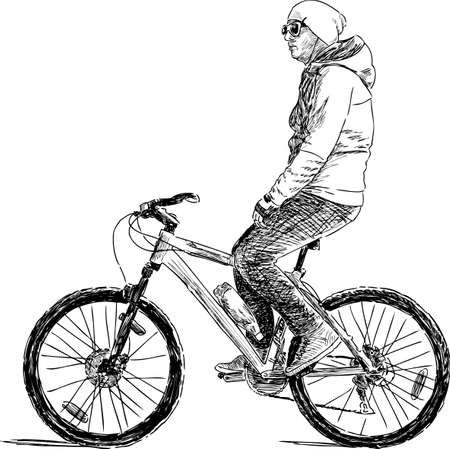 one wheel bike: Young city dweller on a bike ride