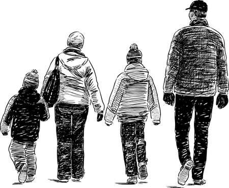 Family of townspeople go on a stroll Ilustração