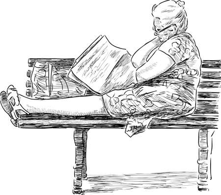 Old woman reads a new paper on a park bench.