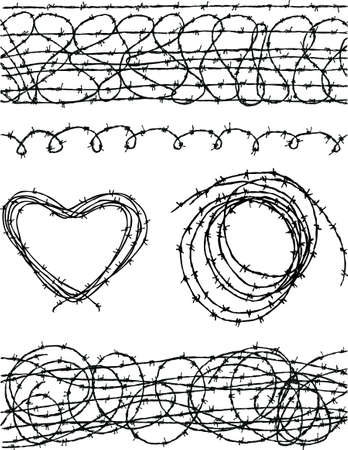 The sketches of the different barbed wire Illustration