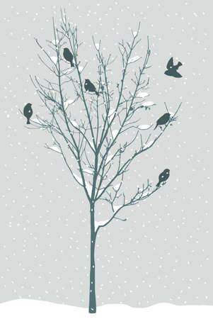Birds on the tree in snowy winter day