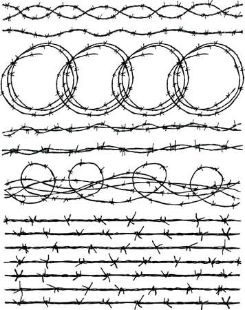 Vector drawings of the barbed wire