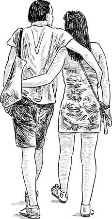 backview: The young loving people on a walk Illustration