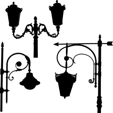 Silhouettes of the different old street lights