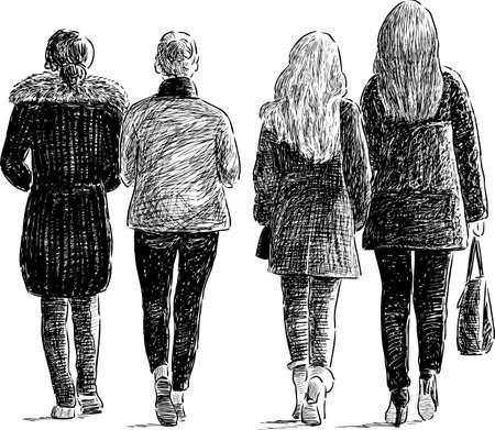 De meisjesstudenten gaan weg