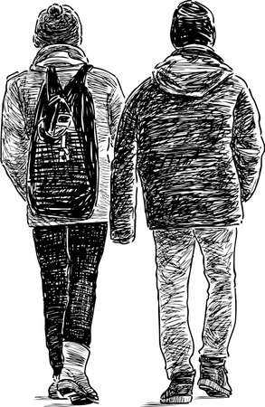 backview: The casual guys are go away Illustration