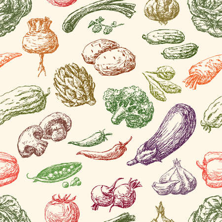 Pattern of the different ripe vegetables Illustration