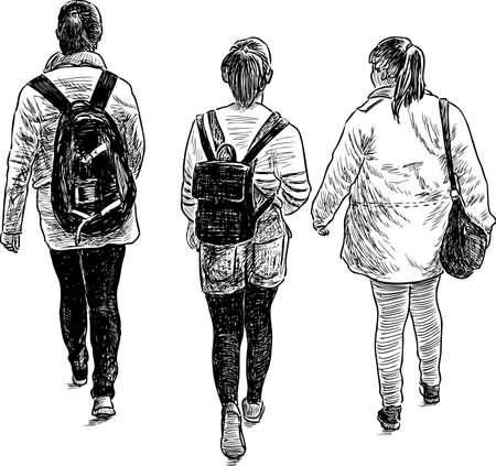 Schets van de schoolmeisjesvrienden Stock Illustratie
