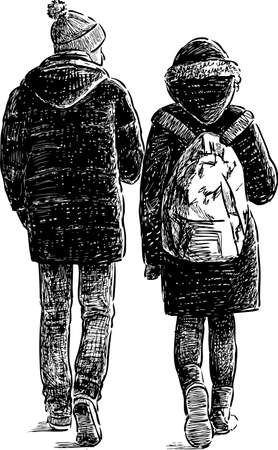 The young couple of townspeople go on a walk Illustration
