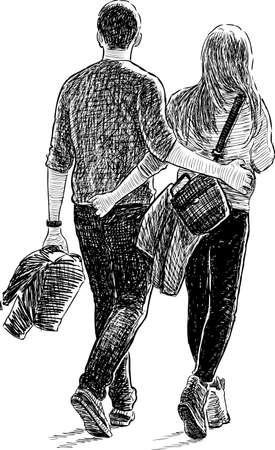 striding: A pair of young people on a date Illustration