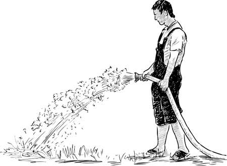 A gardener watering a lawn in the park Illustration