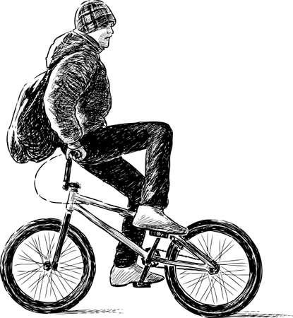 one wheel bike: A playful cyclist ride on a bike Illustration