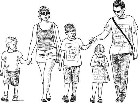 striding: A family of townspeople go on a walk