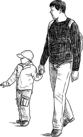 Father with his son go on a stroll