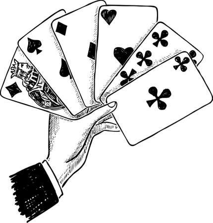 A male hand with the playing cards Stock Illustratie