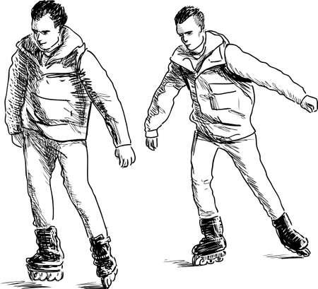 rulos: Teens on roller skates.
