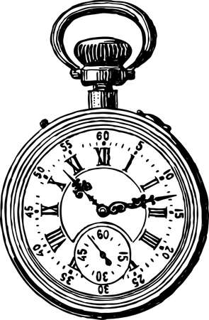Vector drawing of a vintage pocket watch Çizim