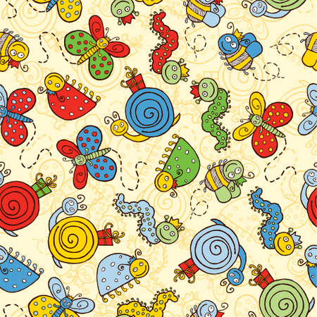 ladybird: Vector background of the cheerful cartoon insects