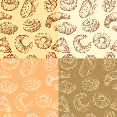 Pattern of the drawn pastries Illustration