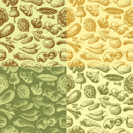 Vector background of the different drawn vegetables