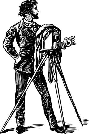 Vector drawing of a vintage photographer