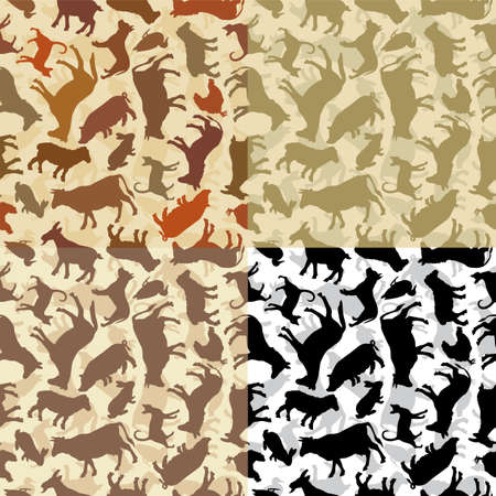 Vector pattern of the farm animals silhouettes