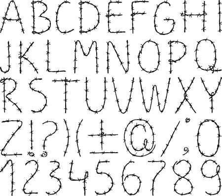 Alfabeto disegnato di filo spinato Archivio Fotografico - 84781570