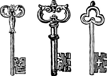 Vector drawings of the ancient keys