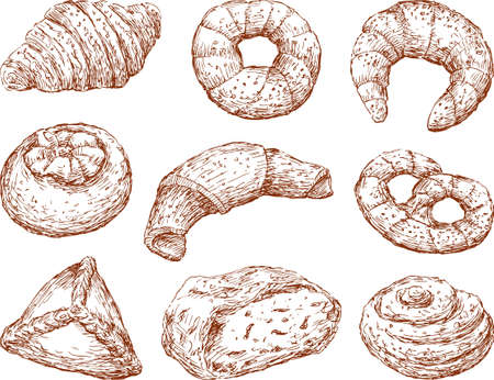 Sketches of the different pastries