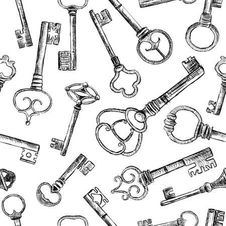 Pattern of drawn old keys