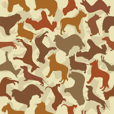 Pattern of the silhouettes of the different dogs breeds Illustration