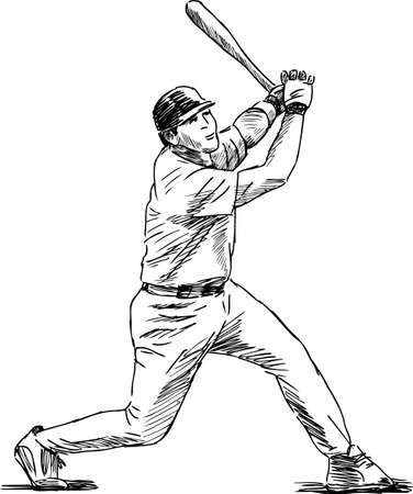 Sketch of a baseball player