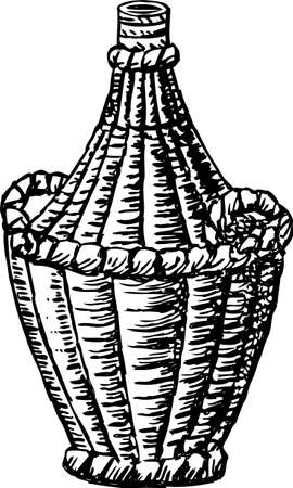 Vector drawing of a braided bottle of wine Ilustrace