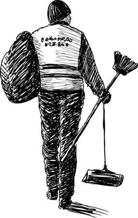 Street cleaner at work Illustration