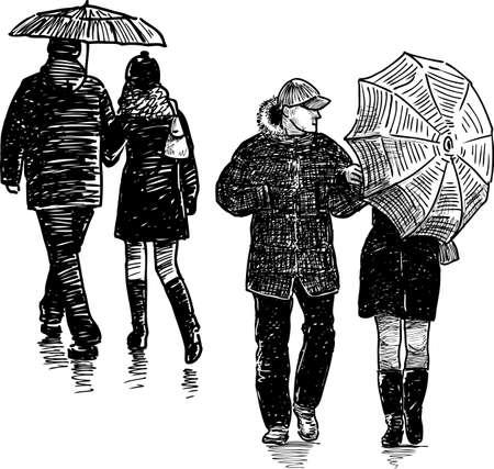 City dwellers in the rain Ilustração